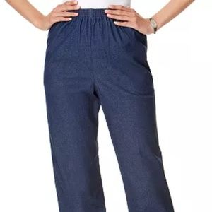Alfred Dunner Denim Pull-On Straight-Leg Pants 14